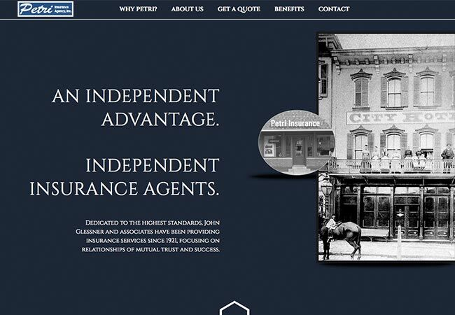 Petri Insurance Agency | Christine Otten | Website and Graphic Design