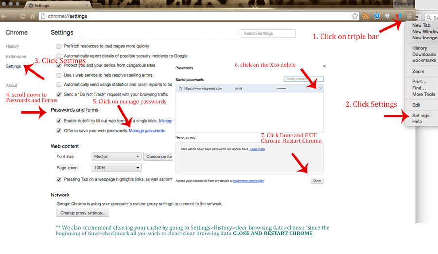 CLEAR SAVED PASSWORDS & CACHE IN CHROME