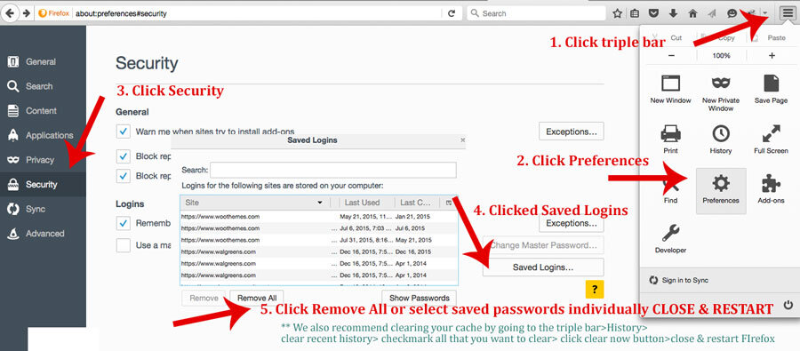 CLEAR SAVED PASSWORDS IN FIREFOX