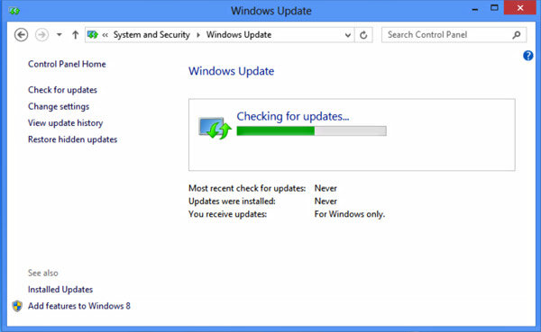 Windows 8 Can't Find Updates